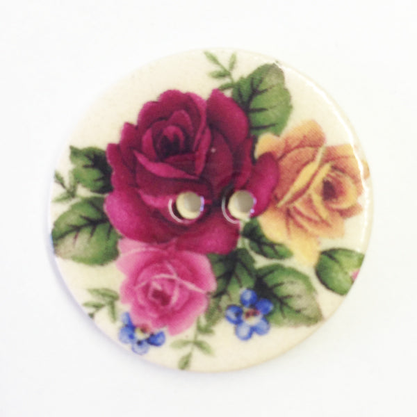Handmade Ceramic Button Floral Round Medium 6680