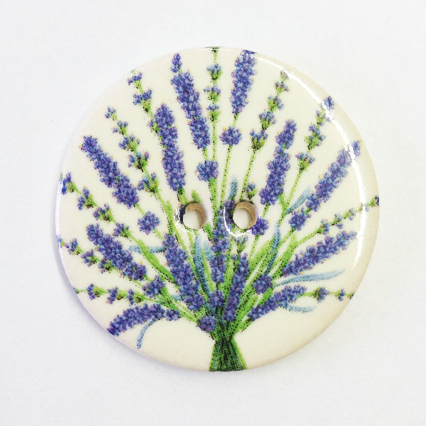 Handmade Ceramic Button Floral Round Large 6697