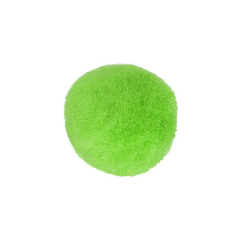 Box of 5 x 5cm Fluffy Pompoms Green 537