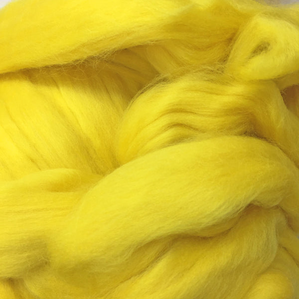 100g Bright Yellow Merino Wool Tops for felting & giant knitting