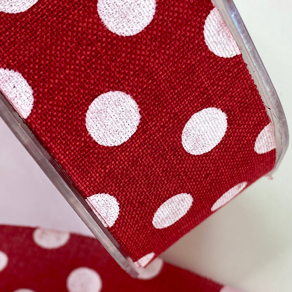 38mm Polka Dot Rustic Ribbon Red 08 per metre