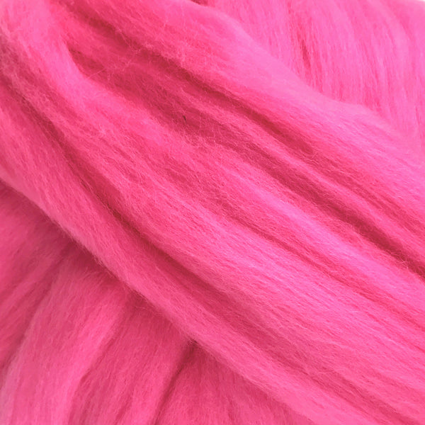 100g Candy Pink Merino Wool Tops for felting & giant knitting