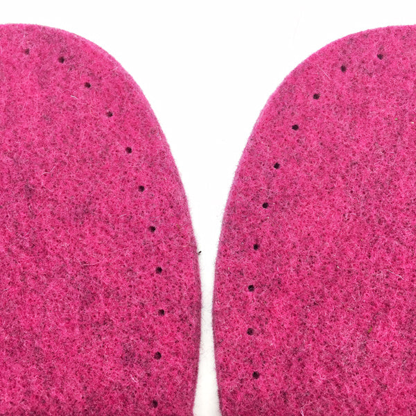 Cerise Felt Slipper Soles Adult UK 1-2 (Eur 34-35)
