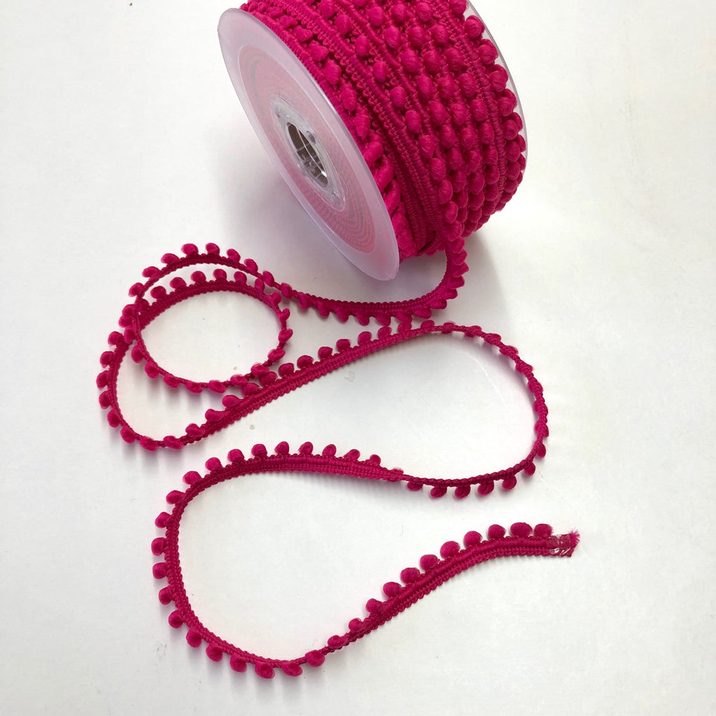 Cerise Mini Pompom Trim 9mm 73