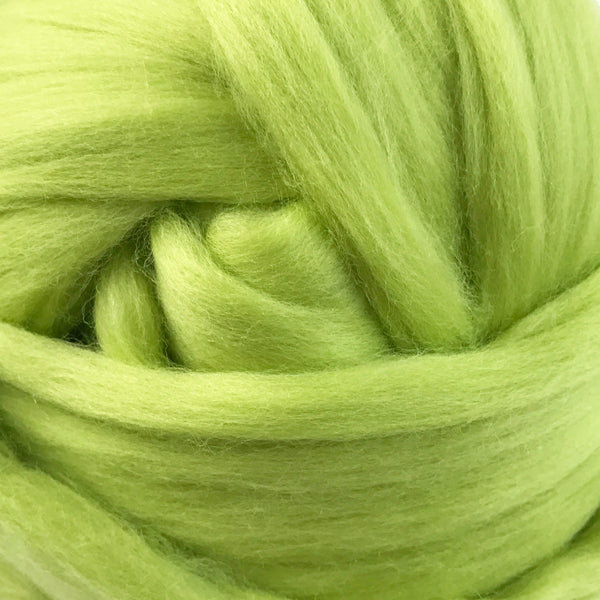 100g Citrus Green Merino wool tops for felting & giant knitting