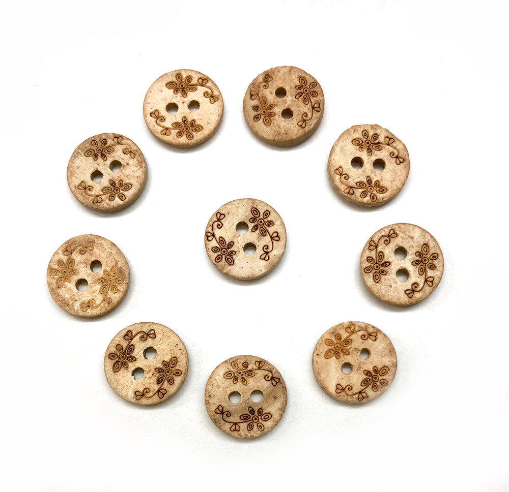 Small Round Etched Coconut Flower Buttons 13mm x 10
