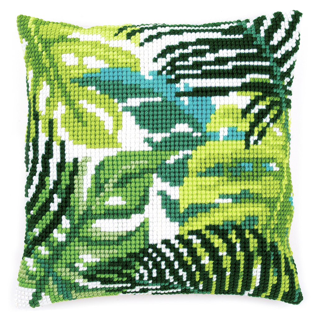 Cross Stitch Cushion: Botanical Leaves