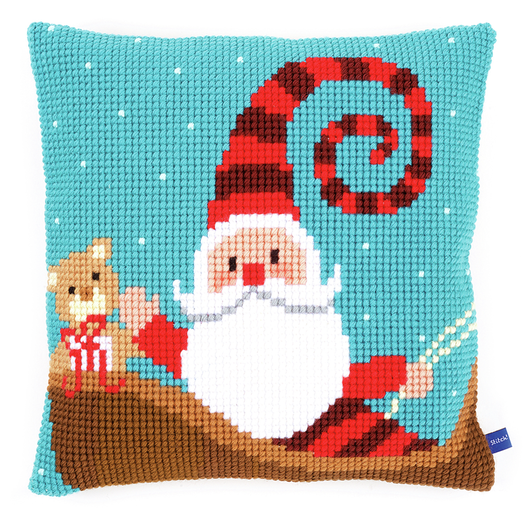 Cross Stitch Cushion: Happy Santa
