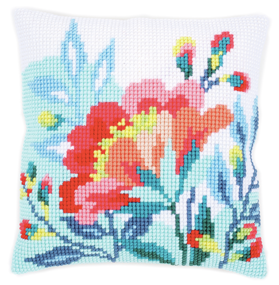 Cross Stitch Cushion: Bright Flowers 1