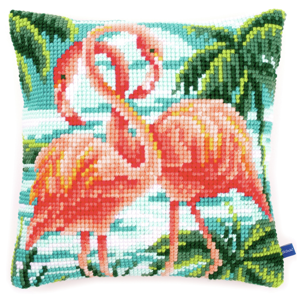 Cross Stitch Cushion: Flamingos