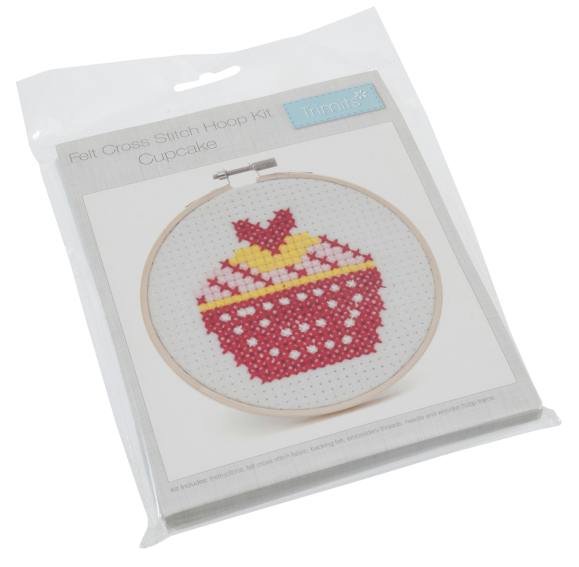 Cross Stitch Kit with Hoop: Cupcake