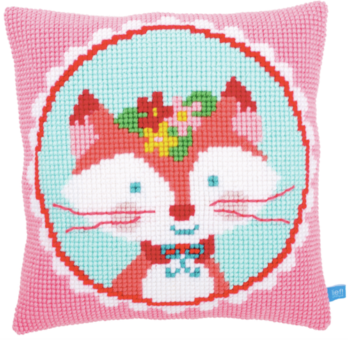 Cross Stitch Cushion: Laughing Fox Pink