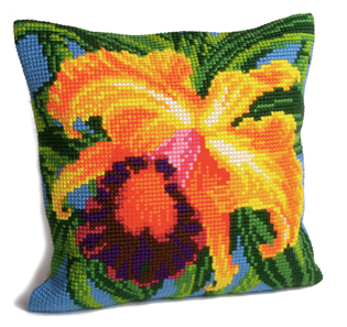 Cross Stitch Cushion: Paradise Orchid