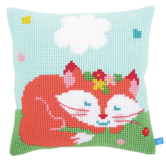 Cross Stitch Cushion: Sleeping Fox Green