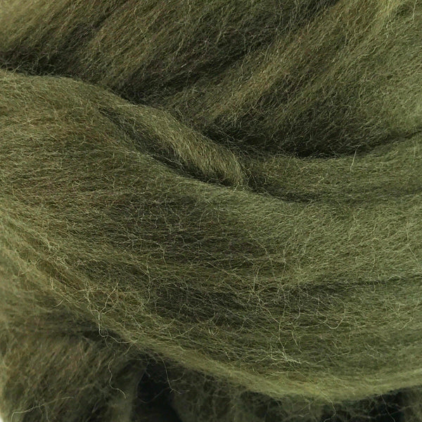 100g Dark Olive Merino wool tops for felting & giant knitting