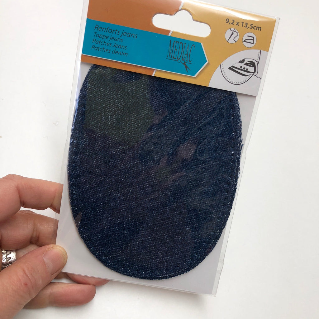 Denim Patch 001 2 pieces 13.5cm x 9.2cm Iron or sew on