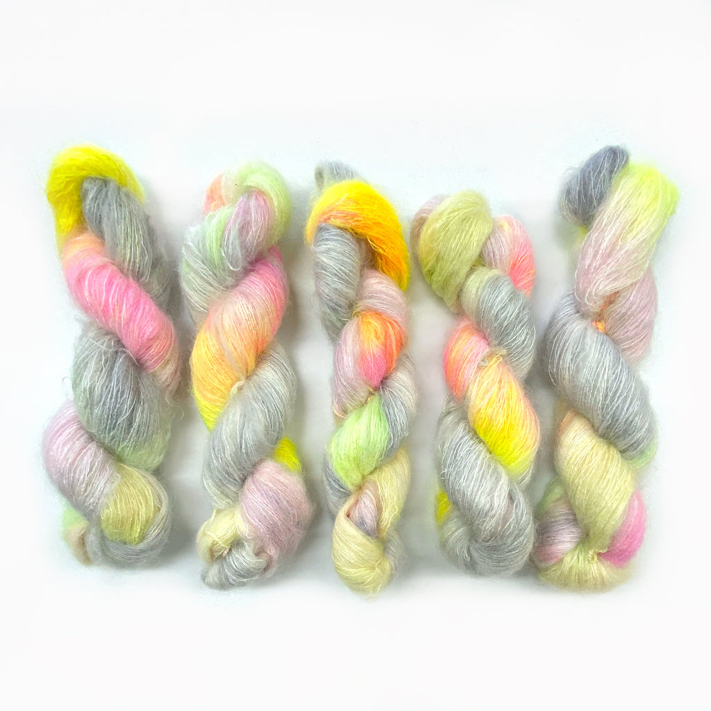Gilliangladrag Holy Fluff Hand Dyed Kid Silk Lace : 'Lucy In the Sky with Diamonds'