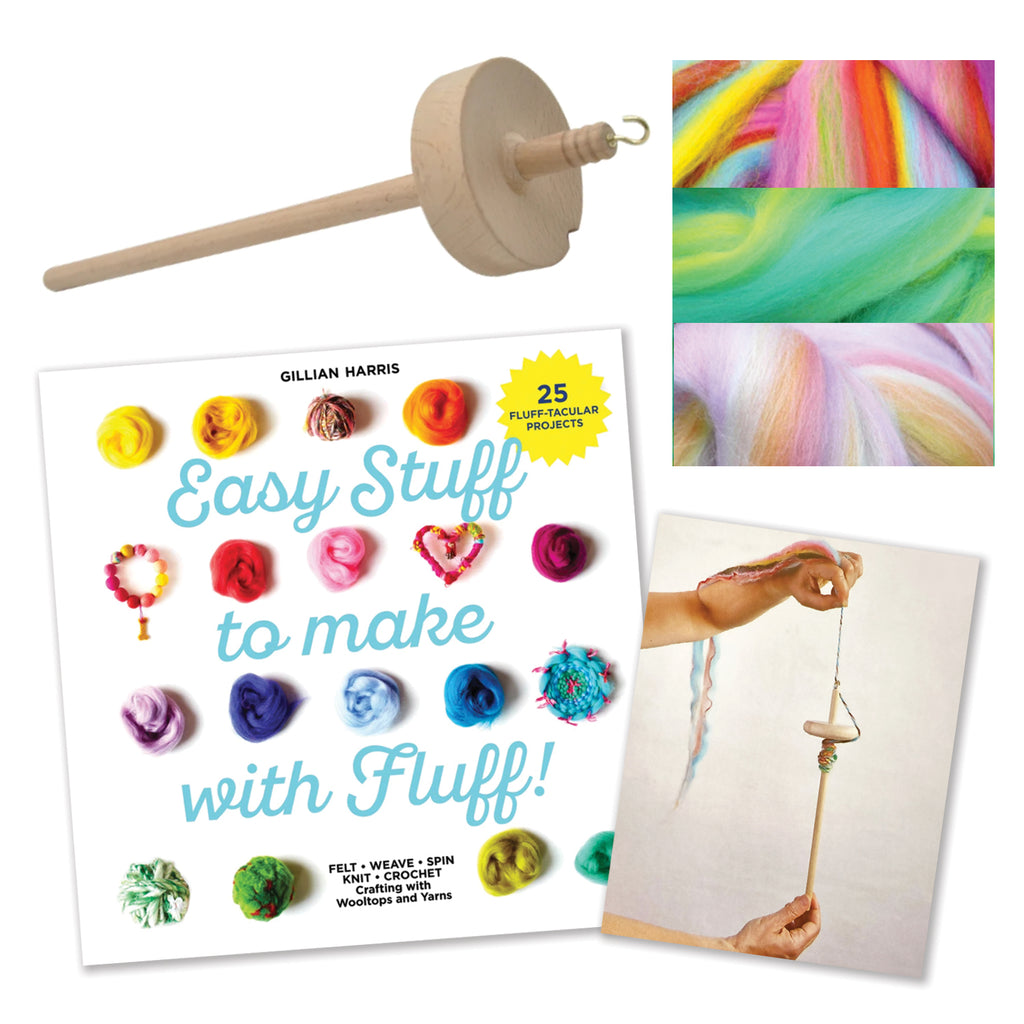 Drop Spindle + 'Easy Stuff to Make with Fluff' + House Blend Wooltops BUNDLE : save 15%!