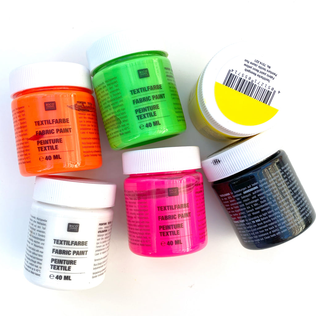 Fabric Textile Paints Set : Neon Colours : 6 x 40ml pots