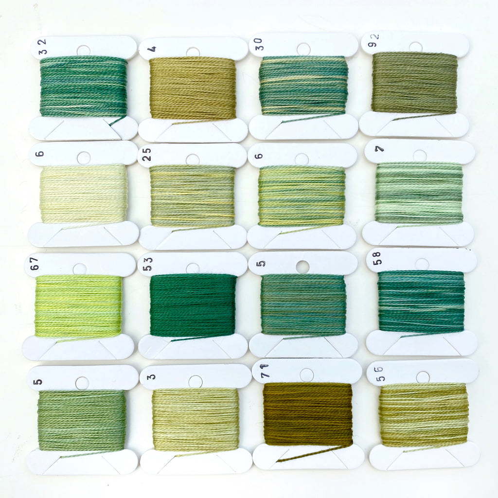 Hand Dyed Perlé 8 Thread Collection : 16 x 9m : Green Collection