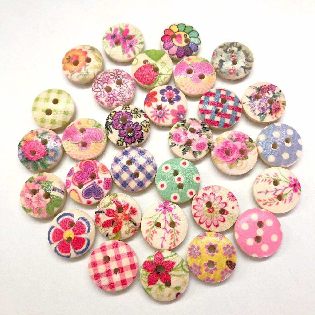 Fun Wooden Round Printed Button Collection 15mm x 30