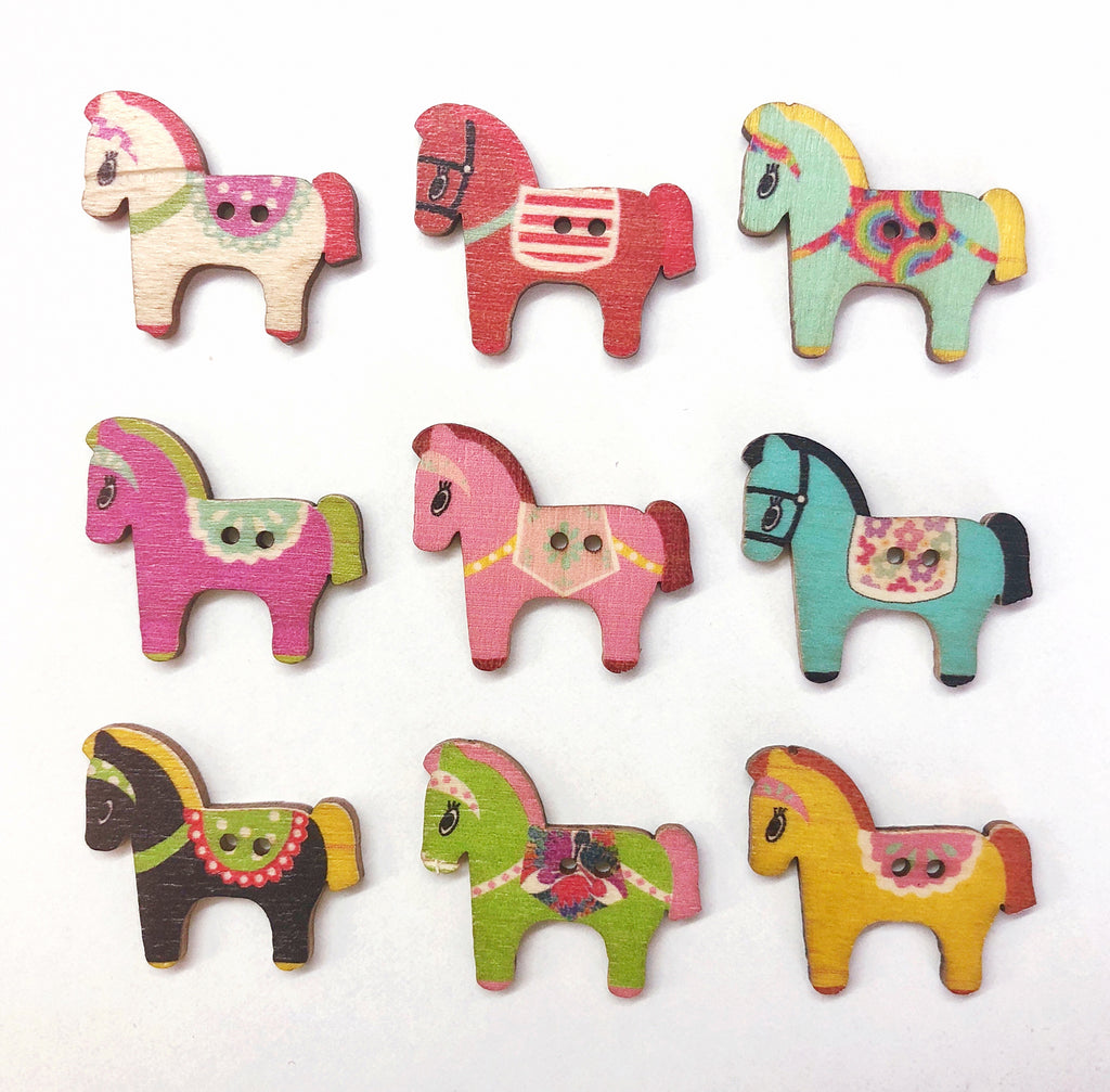 Wooden Pony Buttons 25mm Pack of 15