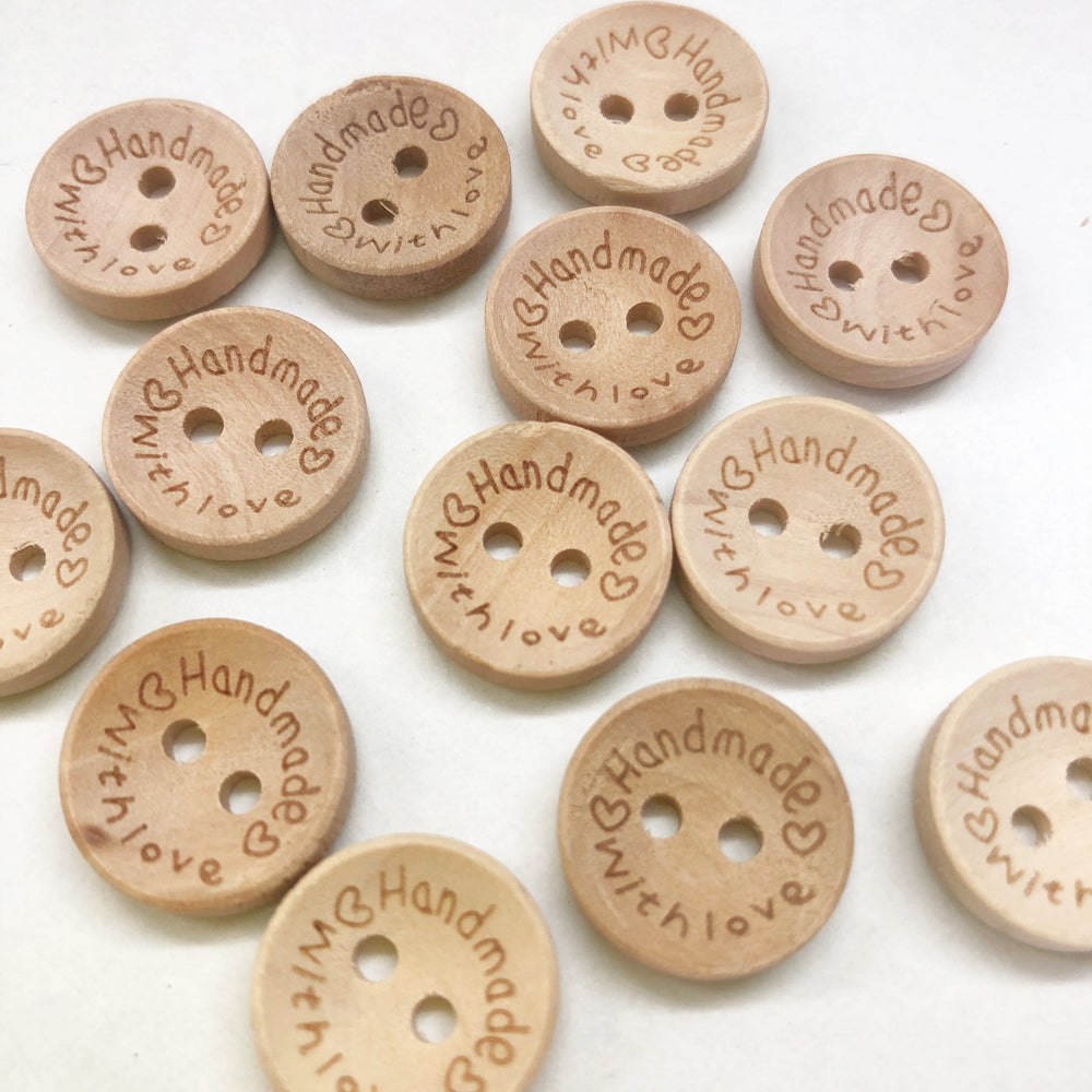 Handmade With Love Button 15mm : Pack of 20