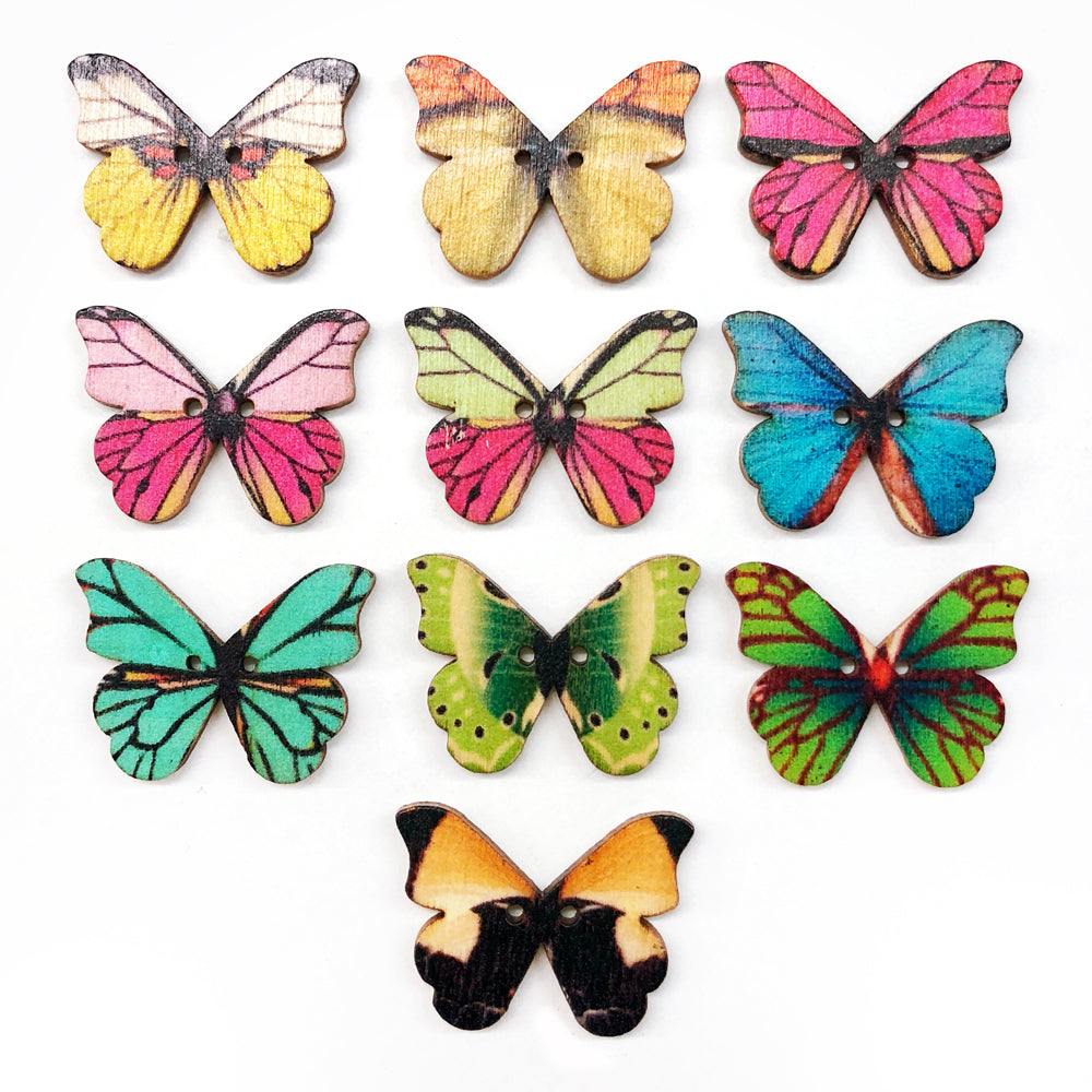 Wooden Butterfly Buttons 28 x 20mm Mixed Pack of 10