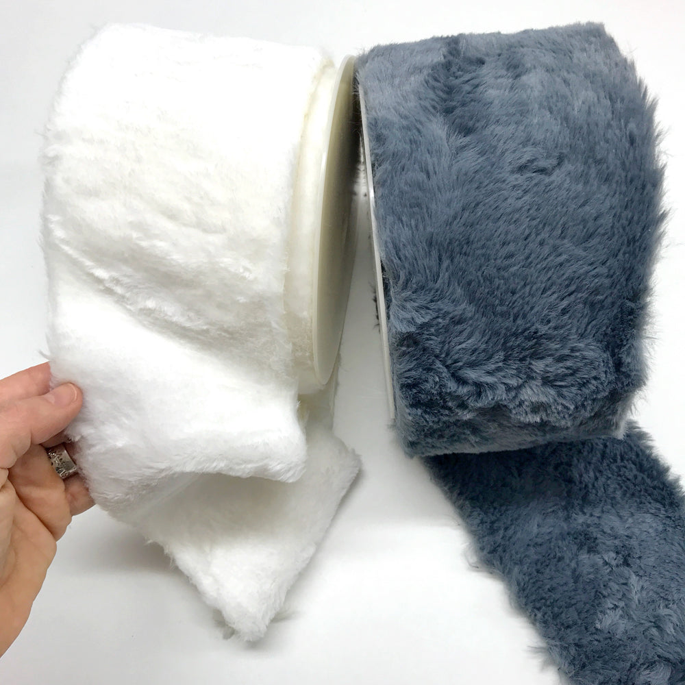 Soft Furry Trim 100% Polyester 12cm White 01 (per Metre)
