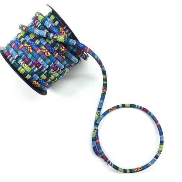 Ethnic Peruvian Round Cord 6mm 24 blue multi