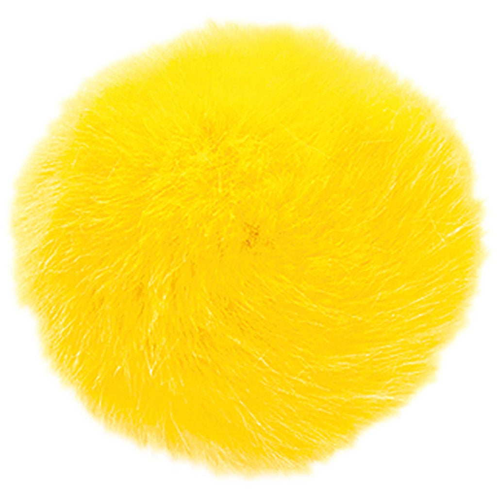 Fake Fur Pompom LARGE 13cm Yellow