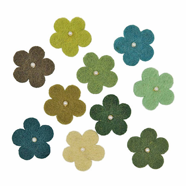 Felt Flower Green Mix with pearls