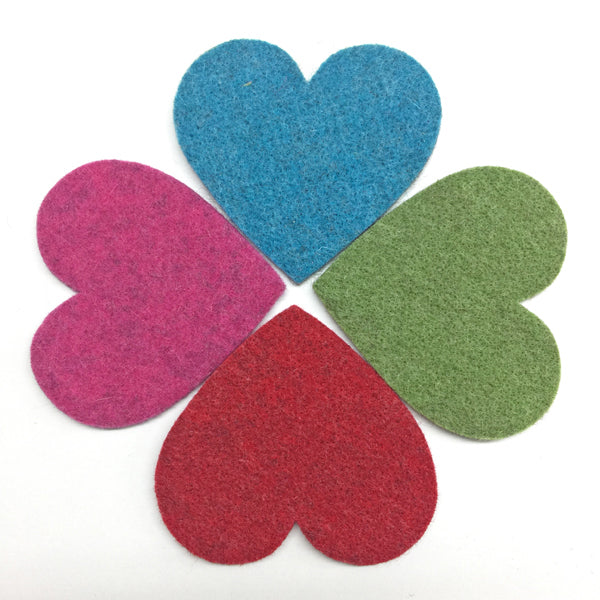 Large Wool Felt Heart 8.5cm x 8cm Green