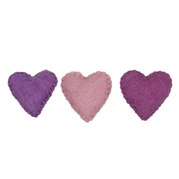 Felt Pink Hearts Shapes x 3