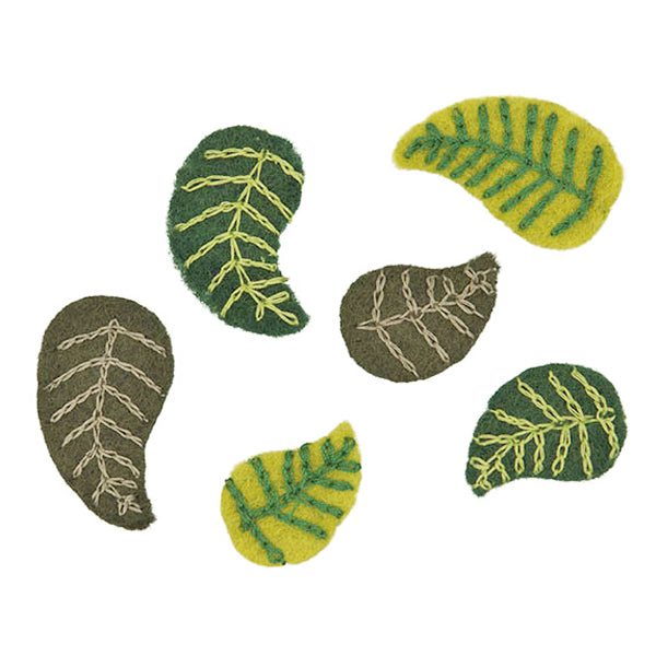 Felt leaves stitched - small