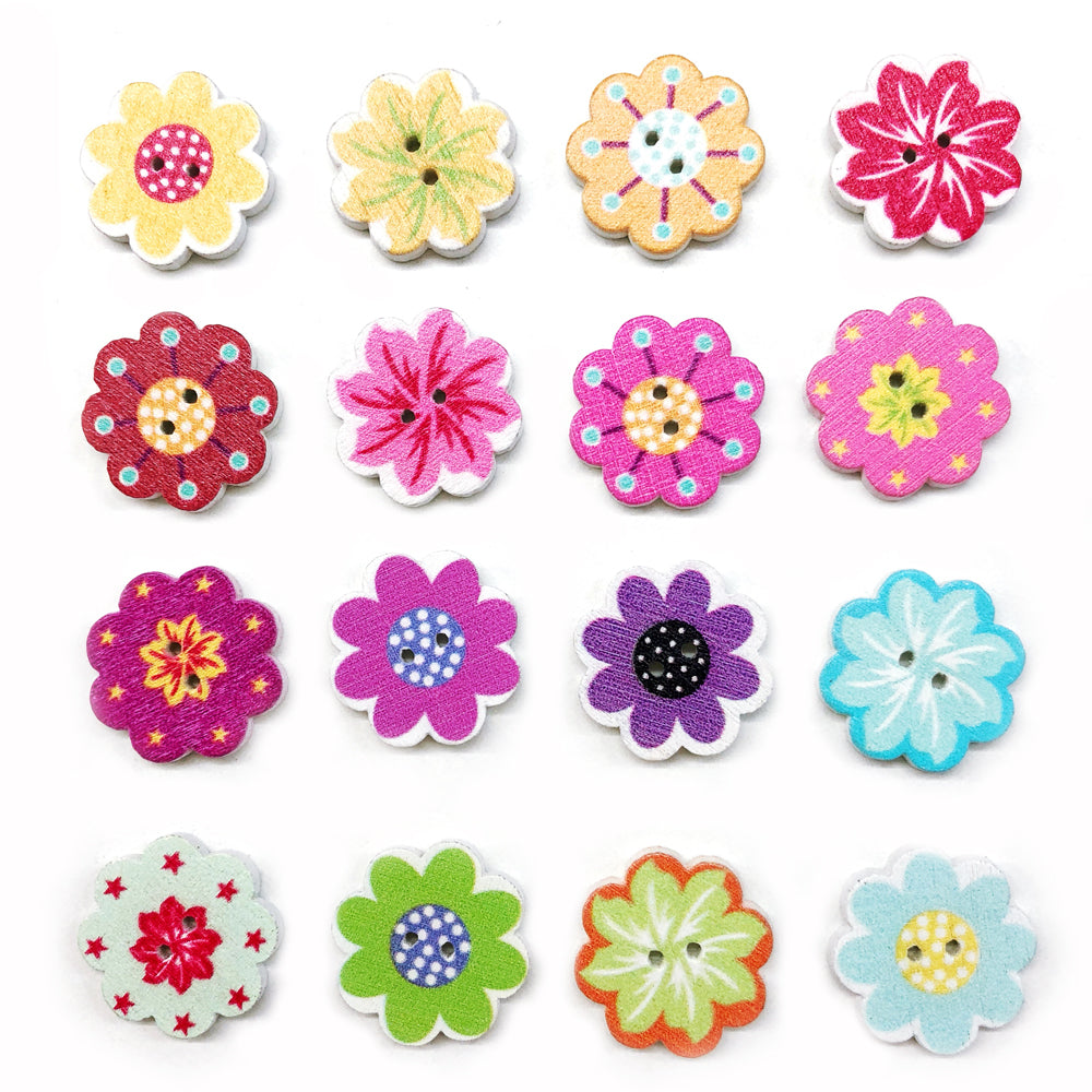 Wooden Die Cut Flower Buttons 20mm : Mixed Pack of 10