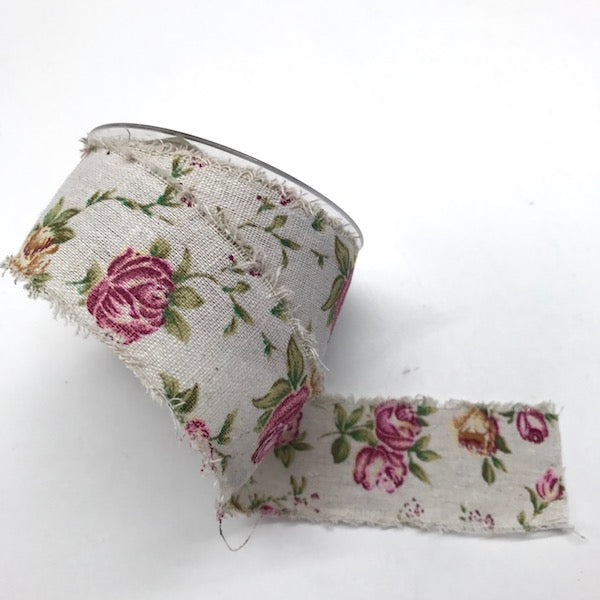Frayed Linen Floral Ribbon