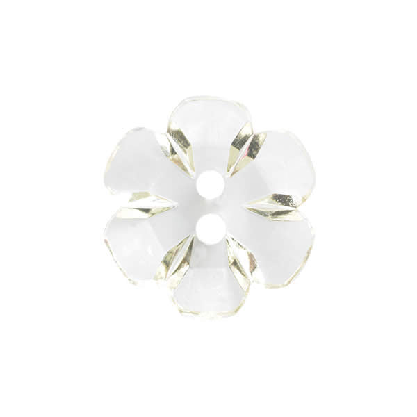 Transparent flower button 15mm Clear 008