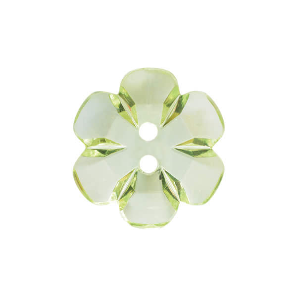 Transparent flower button 15mm Green 054