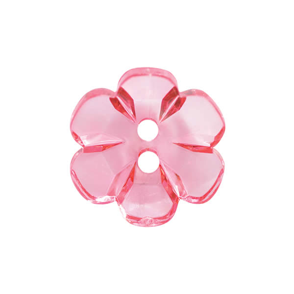 Transparent flower button 15mm Pink 91