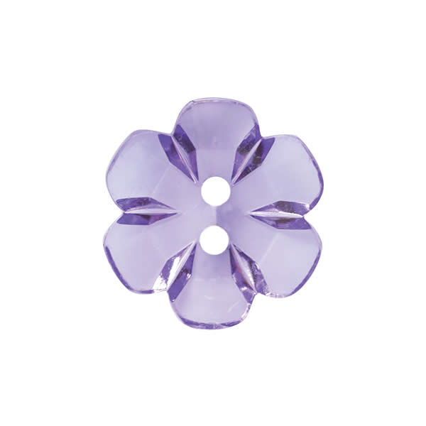Transparent flower button 15mm Purple 021