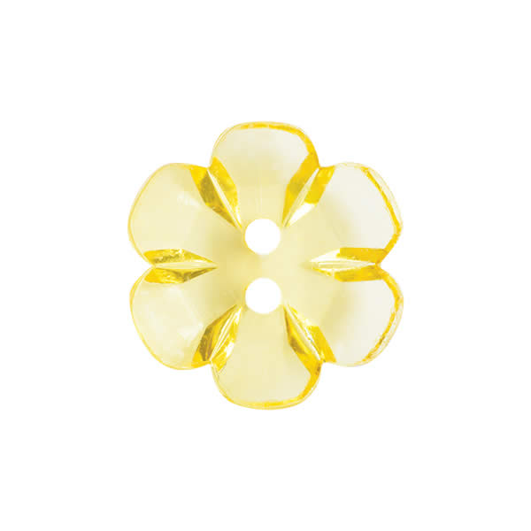 Transparent flower button 15mm Yellow 059