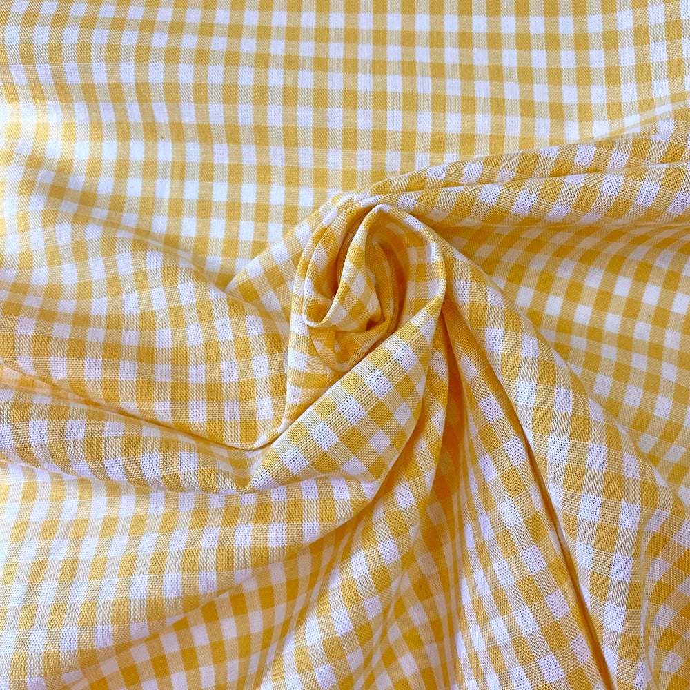 Gingham 100% Cotton Fabric - by the metre : Yellow & White