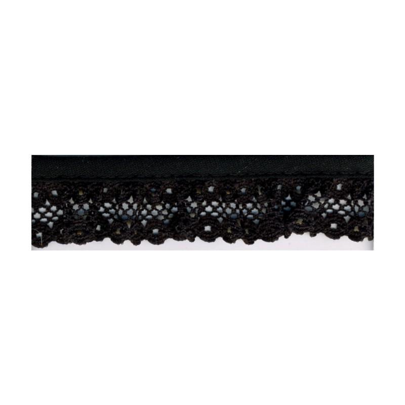 Gathered Lace 20mm 14 Black