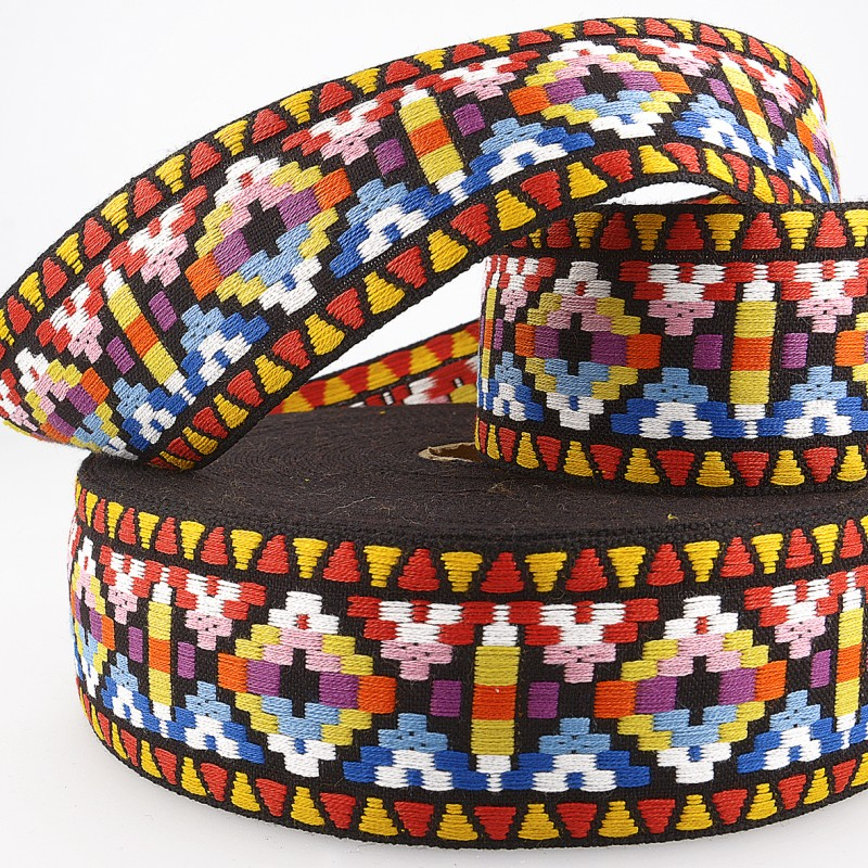 Geometric Jacquard Trim 25mm 02 Multi