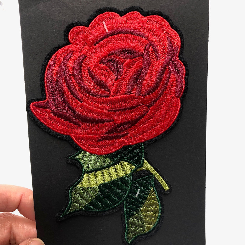 Giant Red Rose Iron On Motif