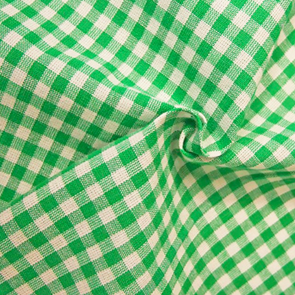 Gingham 100% Cotton Fabric - by the metre : Emerald Green & White