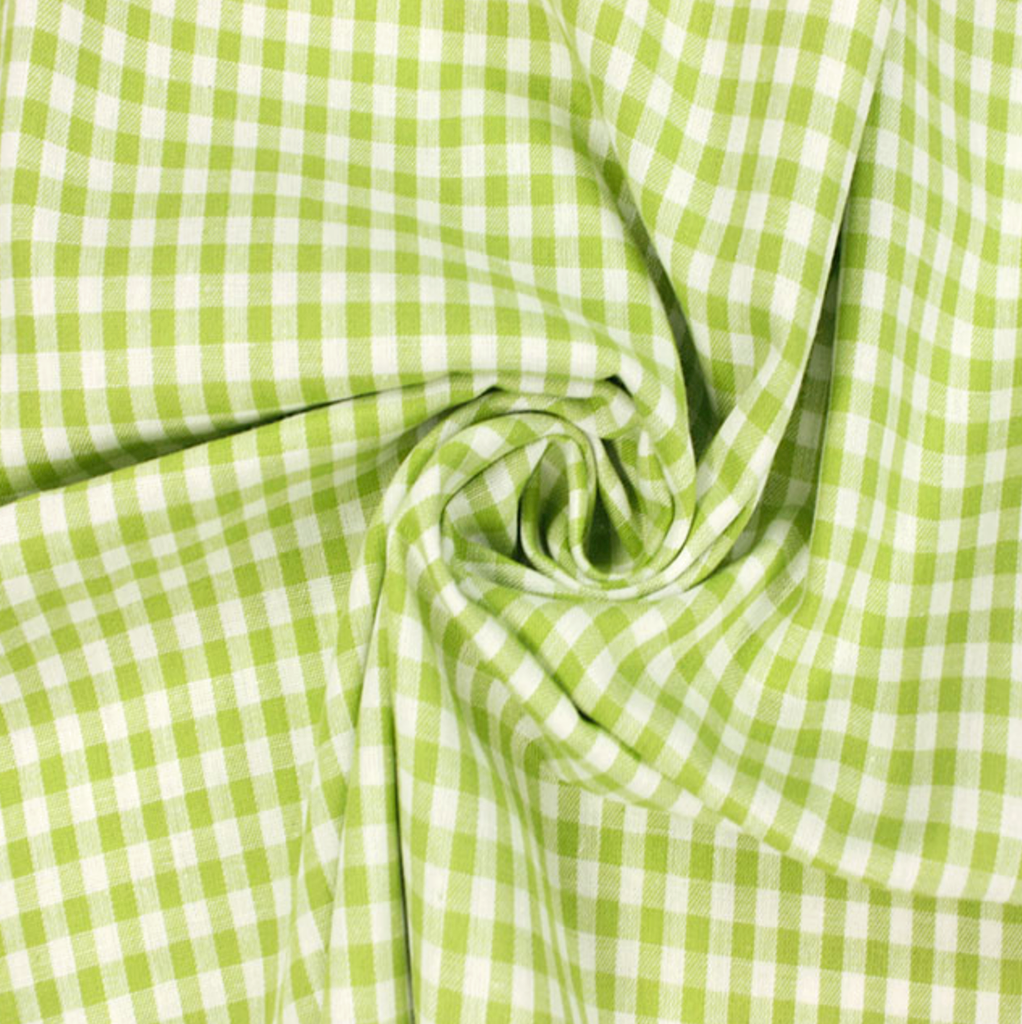 Gingham 100% Cotton Fabric - by the metre : Lime & White