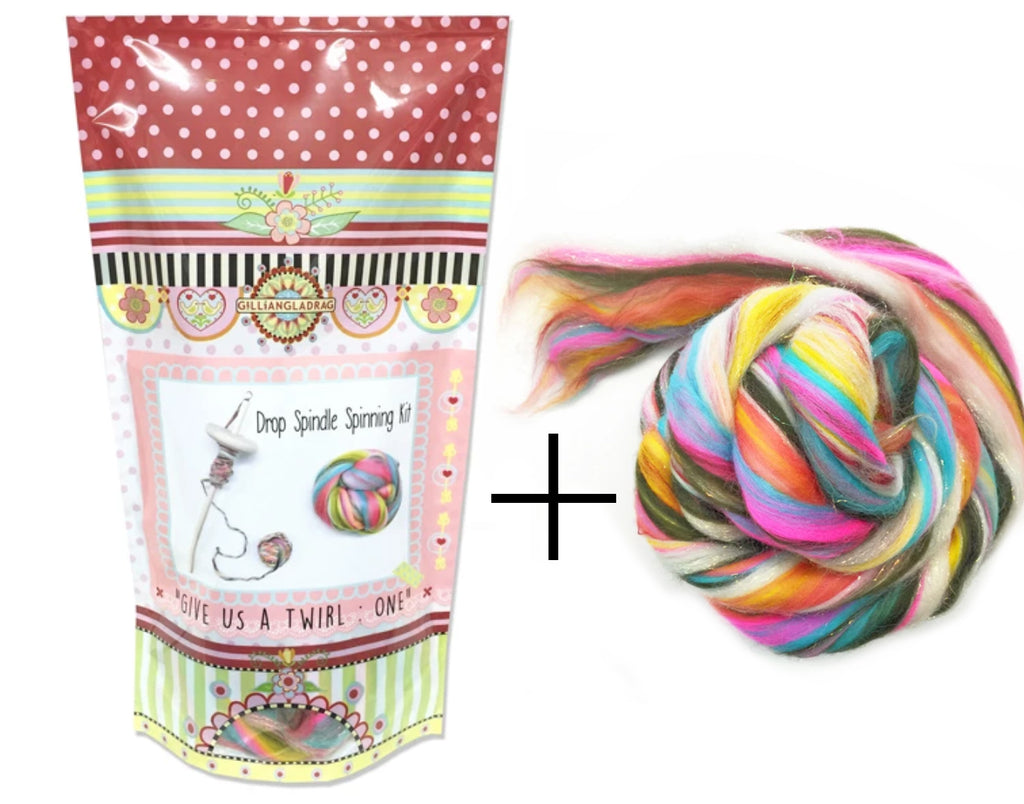 Drop Spindle Spinning Kit Give Us a Twirl Kit One PLUS extra 100g Glittery Unicorn Wooltops