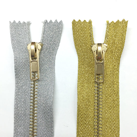 Gold Metal Zip 8 inch